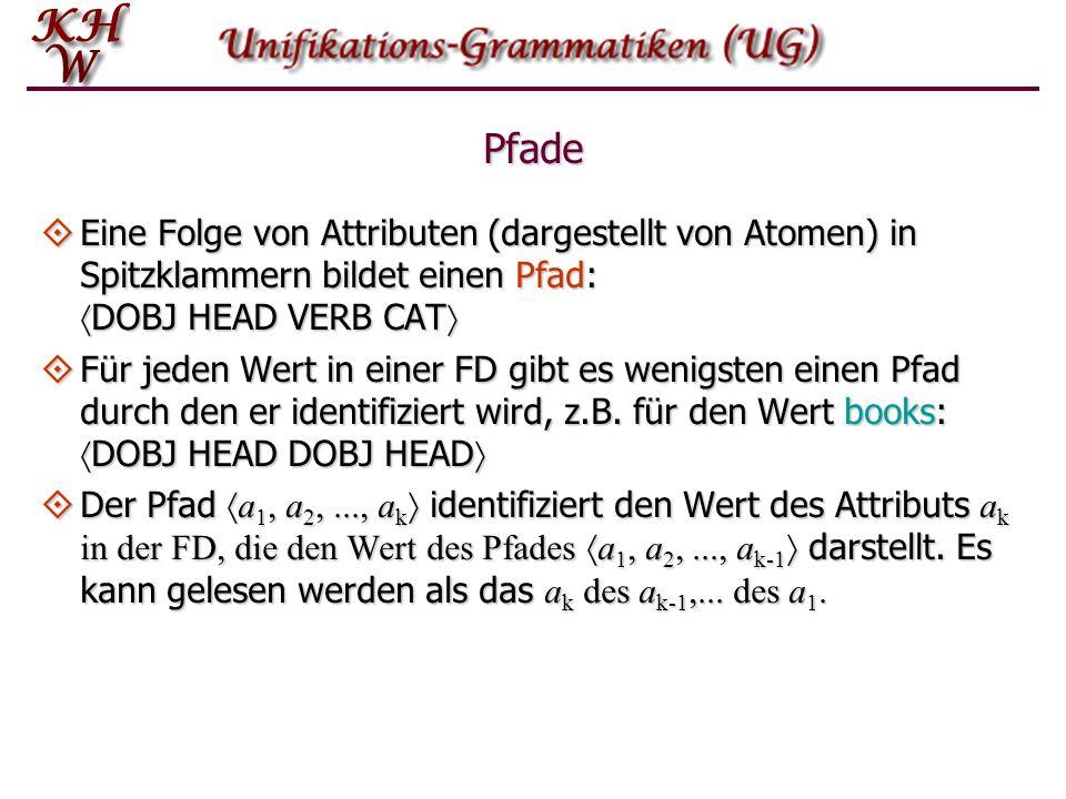 Pfade  Eine Folge von Attributen (dargestellt von Atomen) in Spitzklammern bildet einen Pfad:  DOBJ HEAD VERB CAT   Für jeden Wert in einer FD gibt es wenigsten einen Pfad durch den er identifiziert wird, z.B.