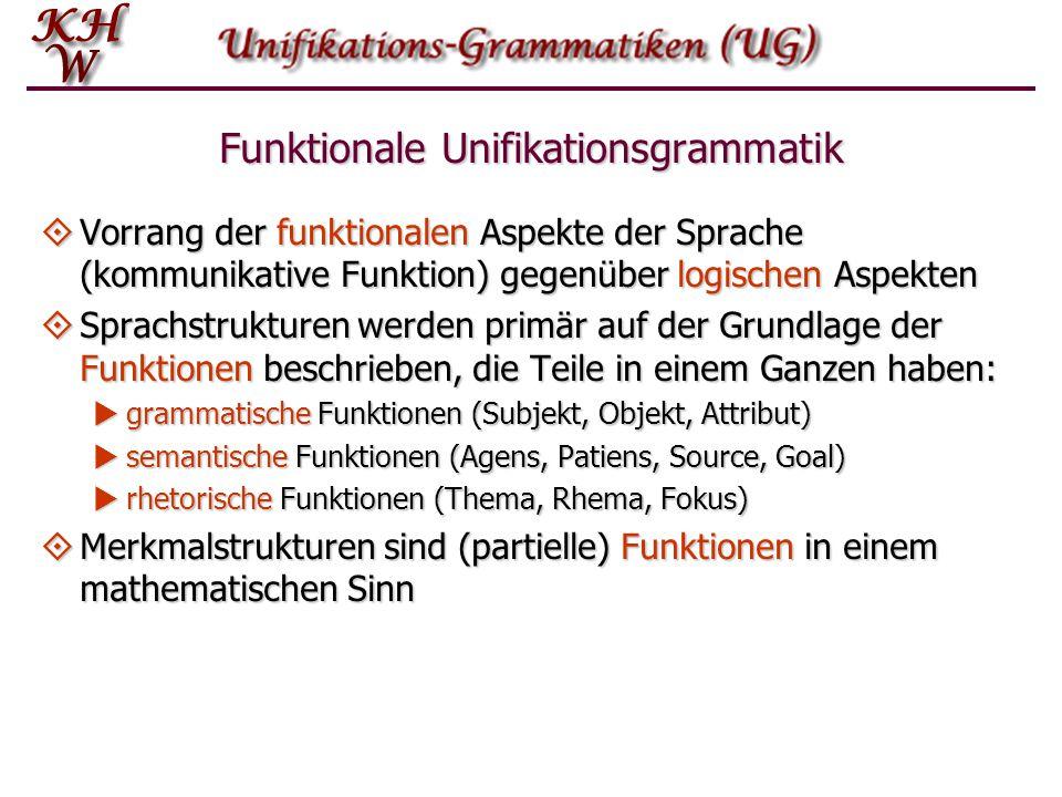 Funktionale Unifikationsgrammatik  Vorrang der funktionalen Aspekte der Sprache (kommunikative Funktion) gegenüber logischen Aspekten  Sprachstrukturen werden primär auf der Grundlage der Funktionen beschrieben, die Teile in einem Ganzen haben:  grammatische Funktionen (Subjekt, Objekt, Attribut)  semantische Funktionen (Agens, Patiens, Source, Goal)  rhetorische Funktionen (Thema, Rhema, Fokus)  Merkmalstrukturen sind (partielle) Funktionen in einem mathematischen Sinn
