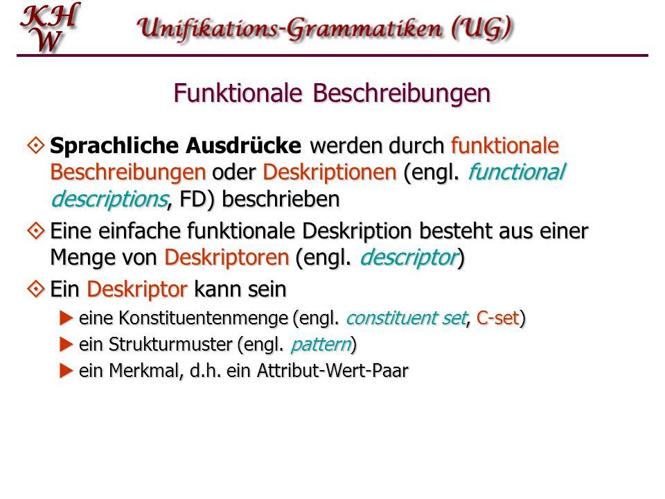Merkmale  Ein Paar, das aus einem Pfad in einer FD und einem Wert besteht, zu dem der Pfad führt, ist ein Merkmal (engl.