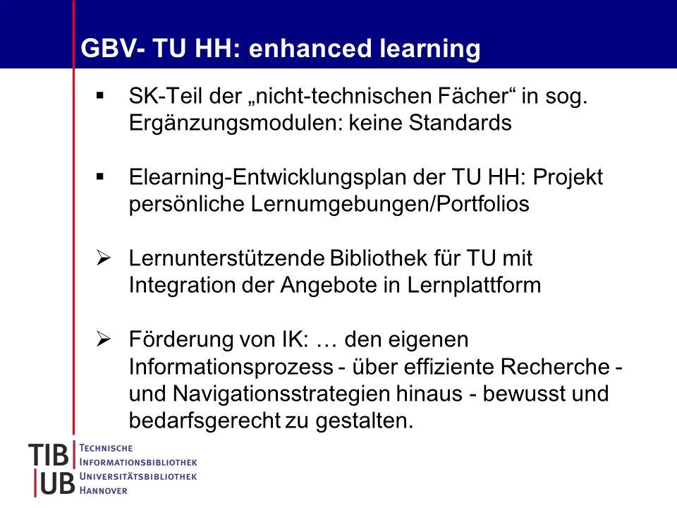"""GBV- TU HH: enhanced learning  SK-Teil der """"nicht-technischen Fächer in sog."""