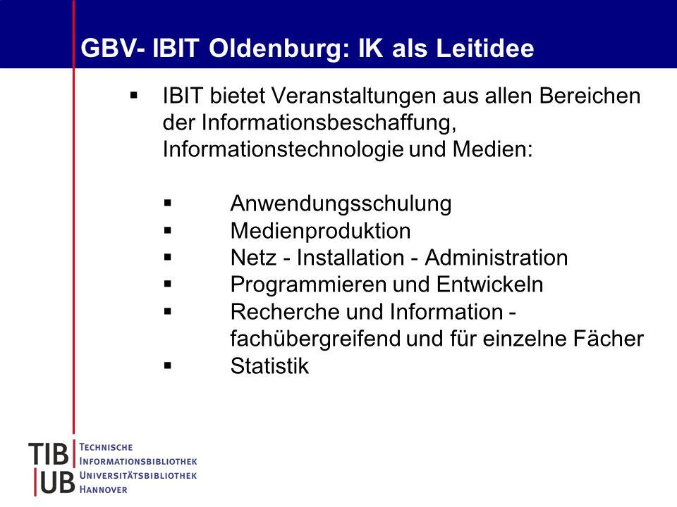 GBV- IBIT Oldenburg: IK als Leitidee  IBIT bietet Veranstaltungen aus allen Bereichen der Informationsbeschaffung, Informationstechnologie und Medien:  Anwendungsschulung  Medienproduktion  Netz - Installation - Administration  Programmieren und Entwickeln  Recherche und Information - fachübergreifend und für einzelne Fächer  Statistik