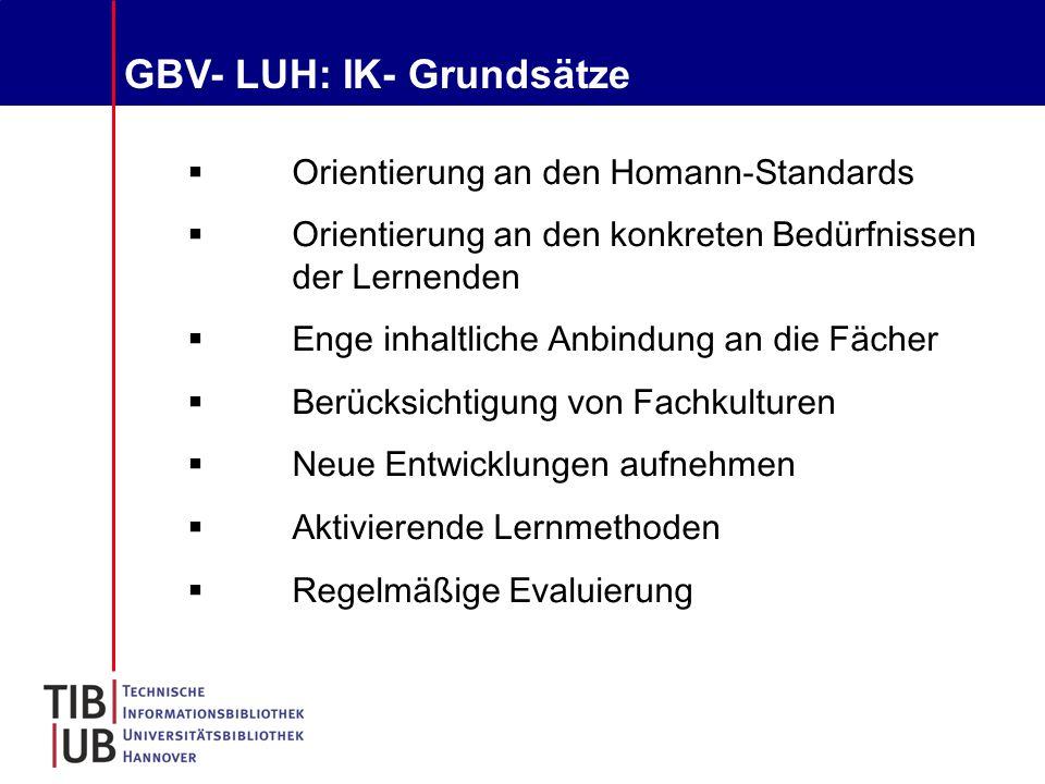 GBV- LUH: IK- Grundsätze  Orientierung an den Homann-Standards  Orientierung an den konkreten Bedürfnissen der Lernenden  Enge inhaltliche Anbindung an die Fächer  Berücksichtigung von Fachkulturen  Neue Entwicklungen aufnehmen  Aktivierende Lernmethoden  Regelmäßige Evaluierung