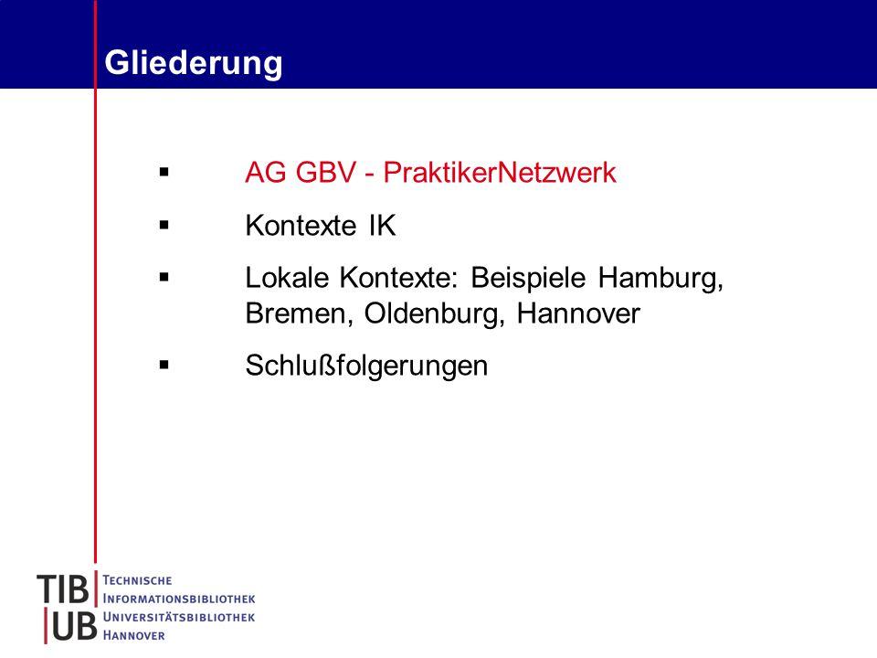 Gliederung  AG GBV - PraktikerNetzwerk  Kontexte IK  Lokale Kontexte: Beispiele Hamburg, Bremen, Oldenburg, Hannover  Schlußfolgerungen