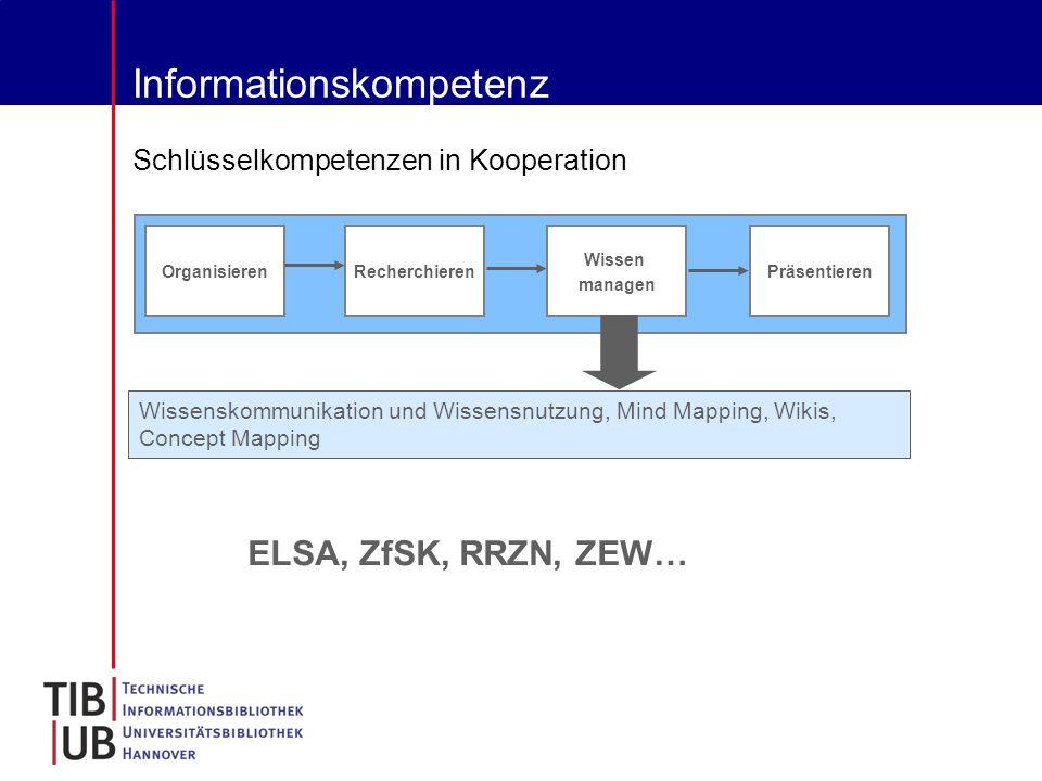 Informationskompetenz Schlüsselkompetenzen in Kooperation Recherchieren Organisieren Wissen managen Präsentieren Wissenskommunikation und Wissensnutzung, Mind Mapping, Wikis, Concept Mapping ELSA, ZfSK, RRZN, ZEW…