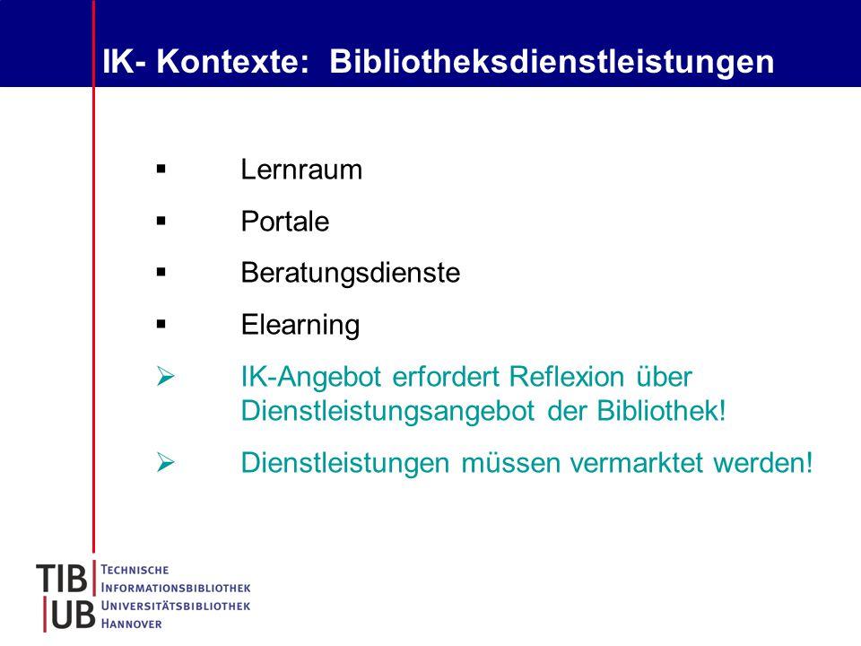 IK- Kontexte: Bibliotheksdienstleistungen  Lernraum  Portale  Beratungsdienste  Elearning  IK-Angebot erfordert Reflexion über Dienstleistungsangebot der Bibliothek.