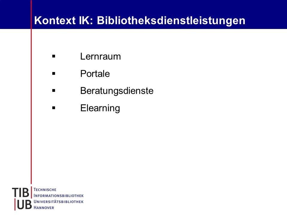 Kontext IK: Bibliotheksdienstleistungen  Lernraum  Portale  Beratungsdienste  Elearning
