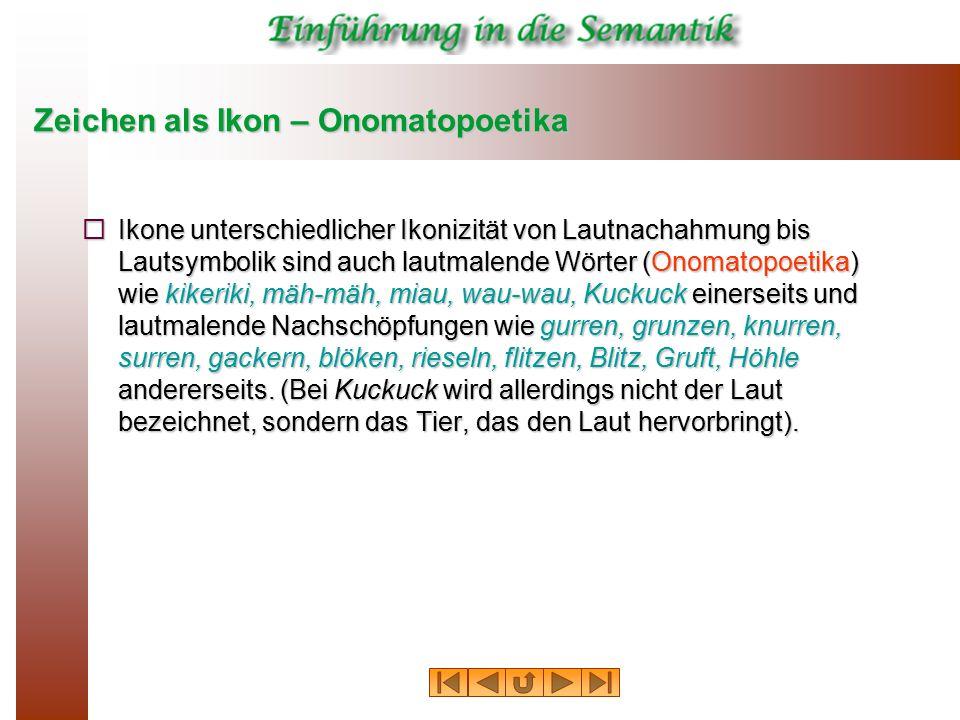 Zeichen als Ikon – Onomatopoetika  Ikone unterschiedlicher Ikonizität von Lautnachahmung bis Lautsymbolik sind auch lautmalende Wörter (Onomatopoetik