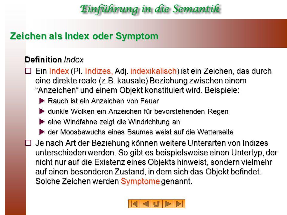 Zeichen als Index oder Symptom Definition Symptom  Ein Index, der auf einen besonderen Zustand eines Objektes oder einer Situation verweist, wird Symptom genannt.