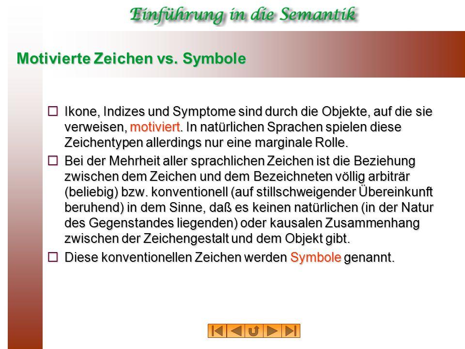Motivierte Zeichen vs. Symbole  Ikone, Indizes und Symptome sind durch die Objekte, auf die sie verweisen, motiviert. In natürlichen Sprachen spielen
