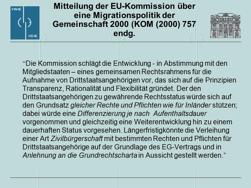 Mitteilung der EU-Kommission über eine Migrationspolitik der Gemeinschaft 2000 (KOM (2000) 757 endg.