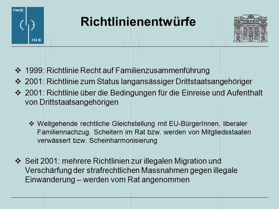 Richtlinienentwürfe  1999: Richtlinie Recht auf Familienzusammenführung  2001: Richtlinie zum Status langansässiger Drittstaatsangehöriger  2001: Richtlinie über die Bedingungen für die Einreise und Aufenthalt von Drittstaatsangehörigen  Weitgehende rechtliche Gleichstellung mit EU-BürgerInnen, liberaler Familiennachzug.