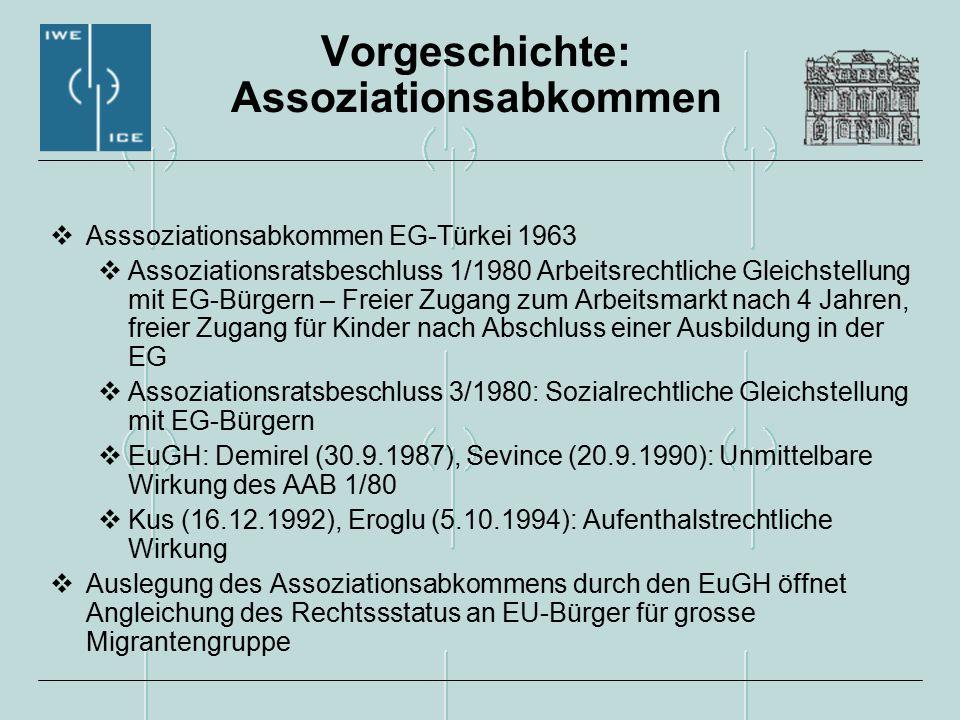 Vorgeschichte: Assoziationsabkommen  Asssoziationsabkommen EG-Türkei 1963  Assoziationsratsbeschluss 1/1980 Arbeitsrechtliche Gleichstellung mit EG-Bürgern – Freier Zugang zum Arbeitsmarkt nach 4 Jahren, freier Zugang für Kinder nach Abschluss einer Ausbildung in der EG  Assoziationsratsbeschluss 3/1980: Sozialrechtliche Gleichstellung mit EG-Bürgern  EuGH: Demirel (30.9.1987), Sevince (20.9.1990): Unmittelbare Wirkung des AAB 1/80  Kus (16.12.1992), Eroglu (5.10.1994): Aufenthalstrechtliche Wirkung  Auslegung des Assoziationsabkommens durch den EuGH öffnet Angleichung des Rechtssstatus an EU-Bürger für grosse Migrantengruppe