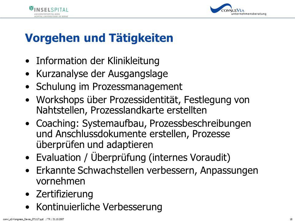 convi_o2-Kongress_Davos_071117.ppt / TR / 31.10.200718 Vorgehen und Tätigkeiten Information der Klinikleitung Kurzanalyse der Ausgangslage Schulung im