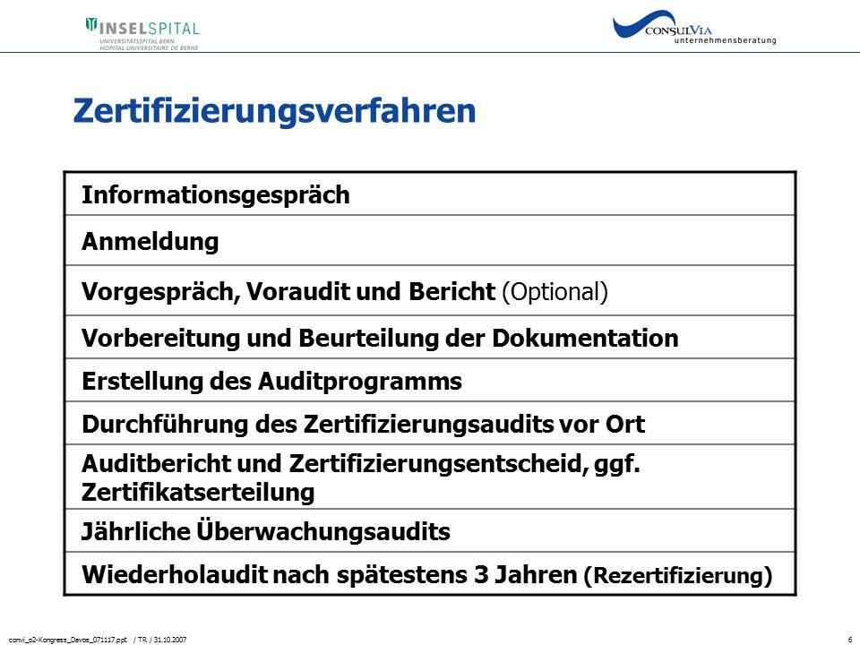convi_o2-Kongress_Davos_071117.ppt / TR / 31.10.20076 Zertifizierungsverfahren Informationsgespräch Anmeldung Vorgespräch, Voraudit und Bericht (Optio