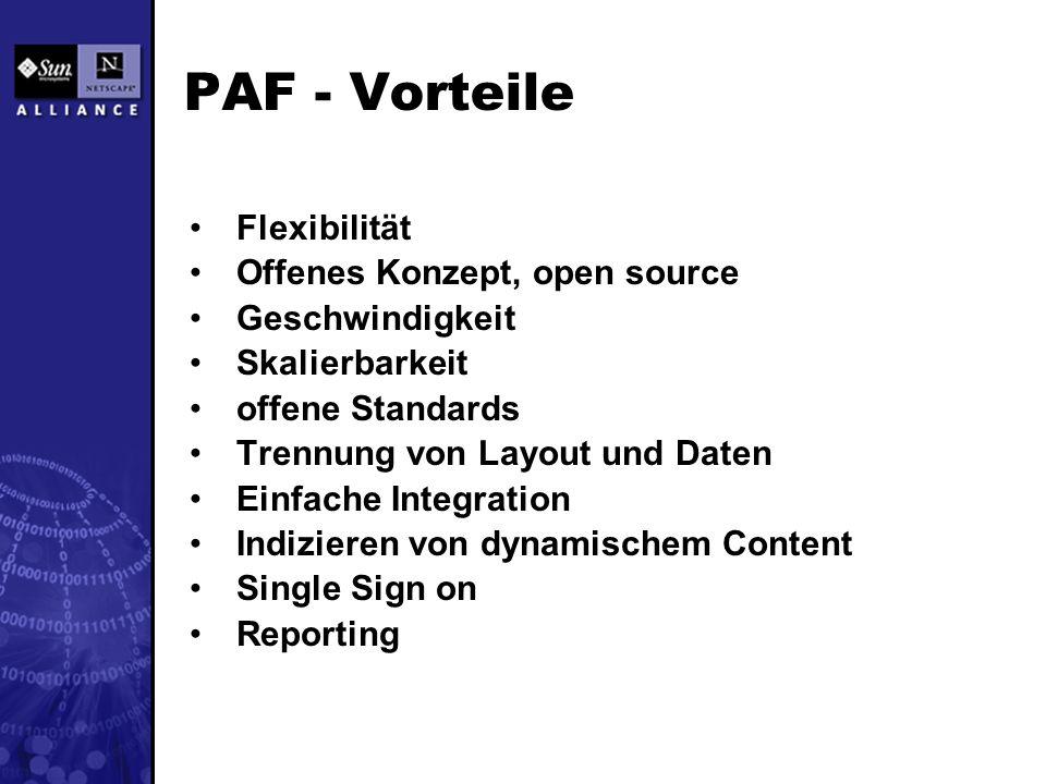 PAF - Vorteile Flexibilität Offenes Konzept, open source Geschwindigkeit Skalierbarkeit offene Standards Trennung von Layout und Daten Einfache Integration Indizieren von dynamischem Content Single Sign on Reporting