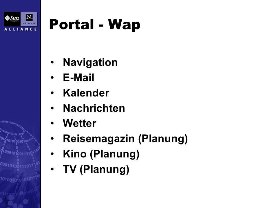 Portal - Wap Navigation E-Mail Kalender Nachrichten Wetter Reisemagazin (Planung) Kino (Planung) TV (Planung)