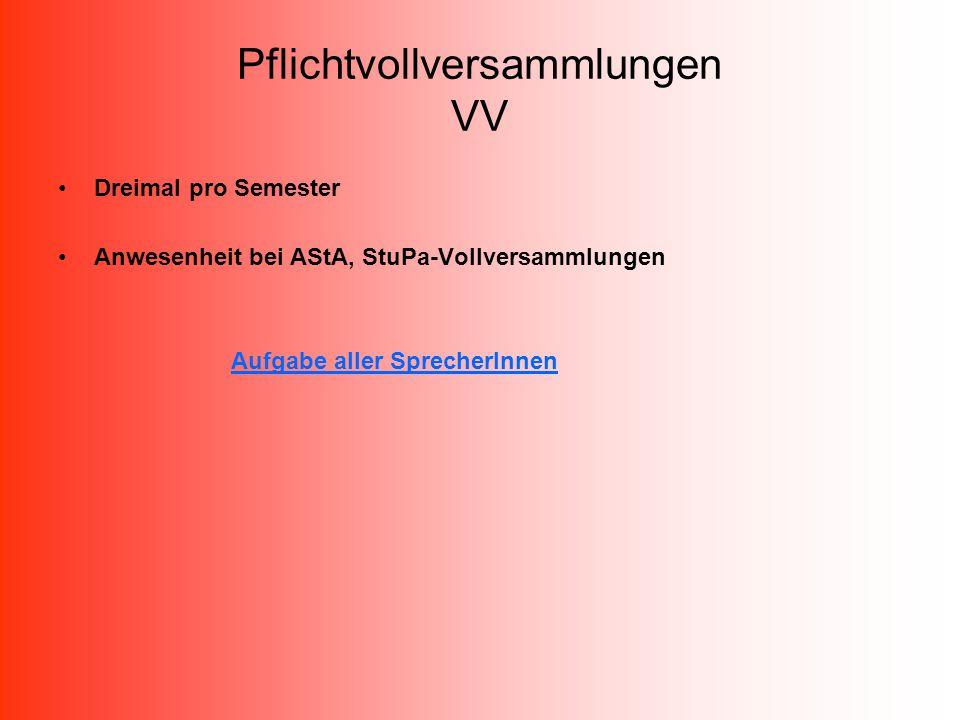 Pflichtvollversammlungen VV Dreimal pro Semester Anwesenheit bei AStA, StuPa-Vollversammlungen Aufgabe aller SprecherInnen