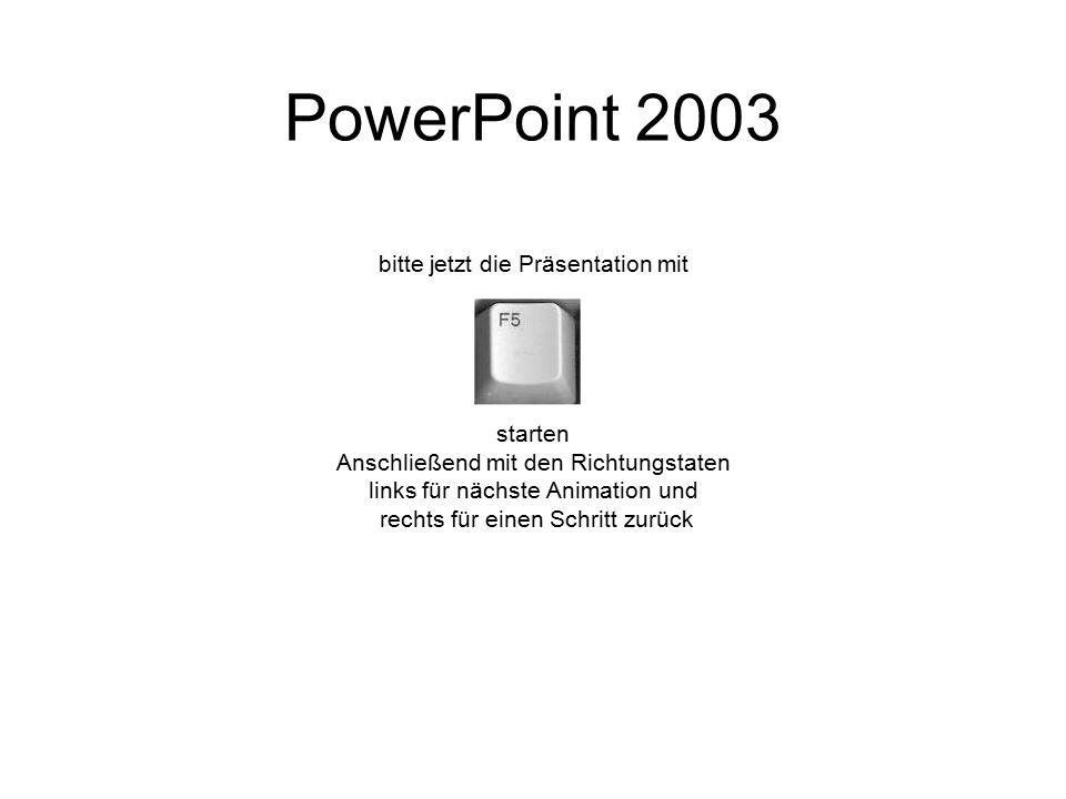PowerPoint 2003 bitte jetzt die Präsentation mit starten Anschließend mit den Richtungstaten links für nächste Animation und rechts für einen Schritt