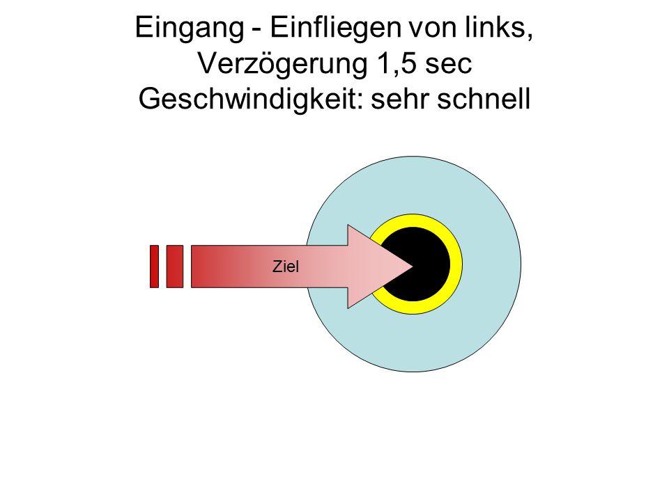Eingang - Einfliegen von links, Verzögerung 1,5 sec Geschwindigkeit: sehr schnell Ziel