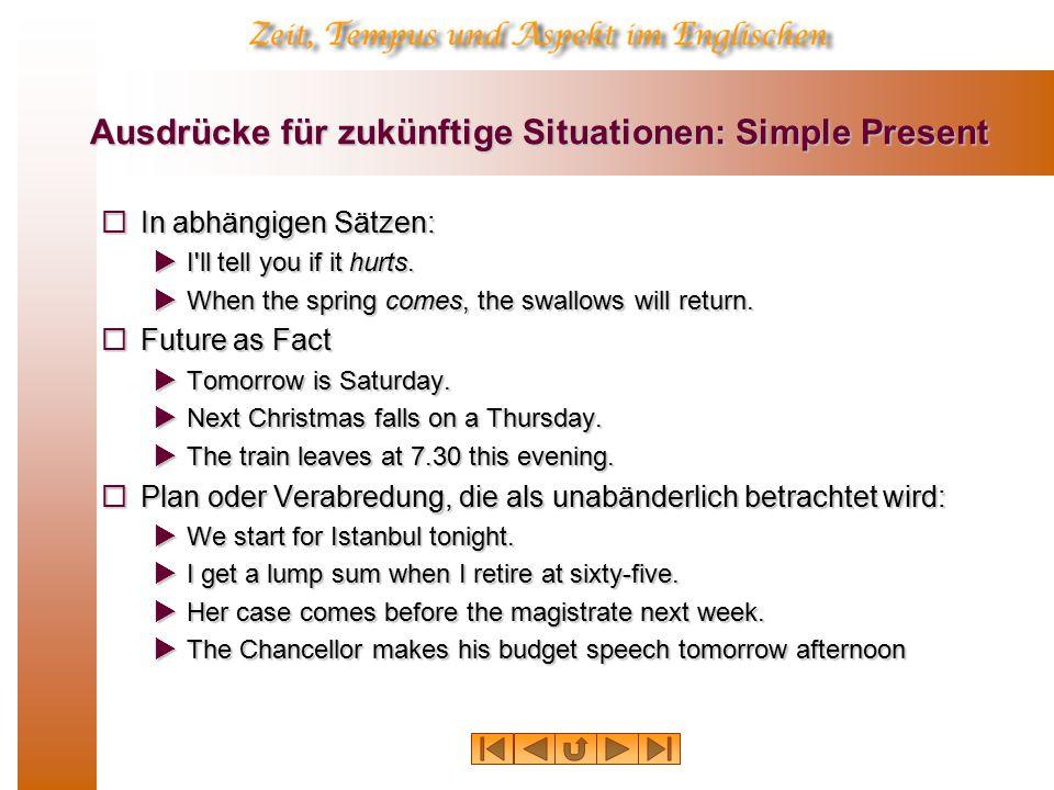 Ausdrücke für zukünftige Situationen: Simple Present  In abhängigen Sätzen:  I ll tell you if it hurts.