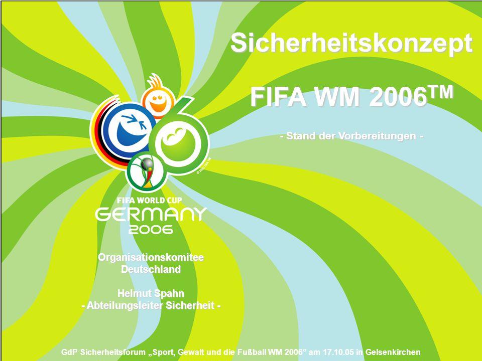 Sicherheitskonzept FIFA WM 2006 TM - Stand der Vorbereitungen - Organisationskomitee Deutschland Helmut Spahn - Abteilungsleiter Sicherheit - GdP Sich