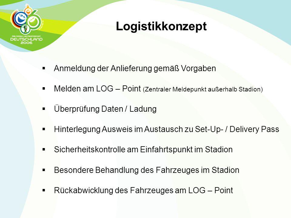 Logistikkonzept  Anmeldung der Anlieferung gemäß Vorgaben  Melden am LOG – Point (Zentraler Meldepunkt außerhalb Stadion)  Überprüfung Daten / Ladu