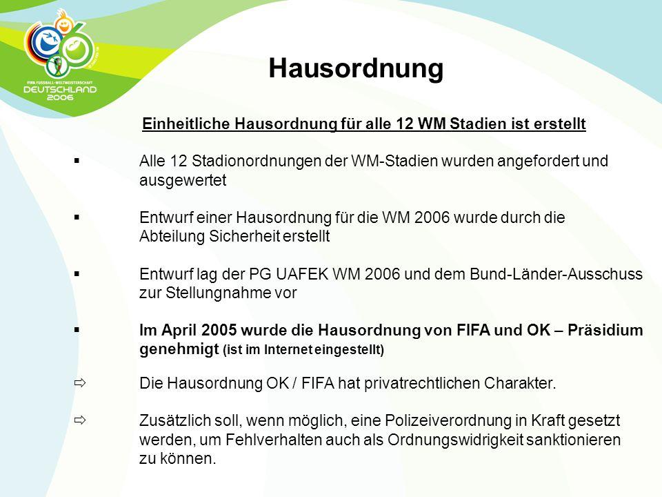 Einheitliche Hausordnung für alle 12 WM Stadien ist erstellt  Alle 12 Stadionordnungen der WM-Stadien wurden angefordert und ausgewertet  Entwurf ei