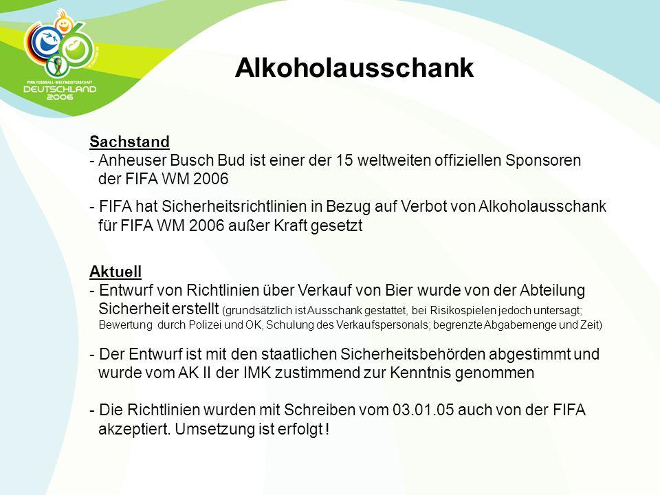 Sachstand - Anheuser Busch Bud ist einer der 15 weltweiten offiziellen Sponsoren der FIFA WM 2006 - FIFA hat Sicherheitsrichtlinien in Bezug auf Verbo