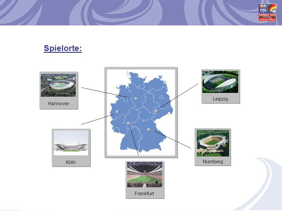 Spielorte: Köln Frankfurt Hannover Nürnberg Leipzig
