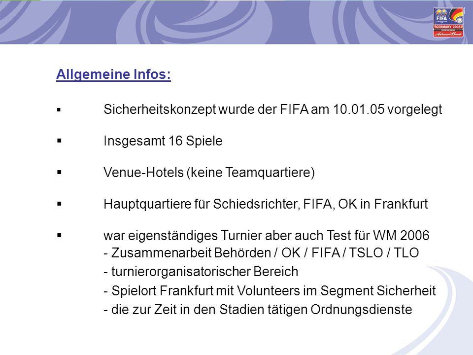  Sicherheitskonzept wurde der FIFA am 10.01.05 vorgelegt  Insgesamt 16 Spiele  Venue-Hotels (keine Teamquartiere)  Hauptquartiere für Schiedsricht
