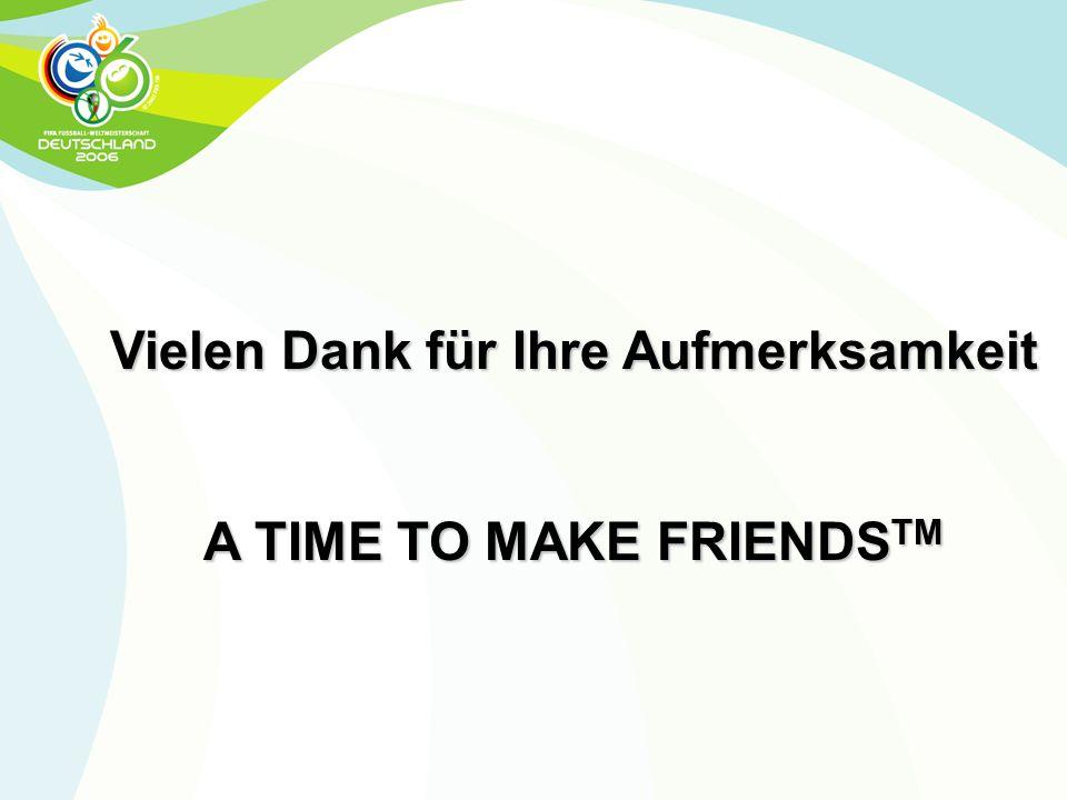 Vielen Dank für Ihre Aufmerksamkeit A TIME TO MAKE FRIENDS TM