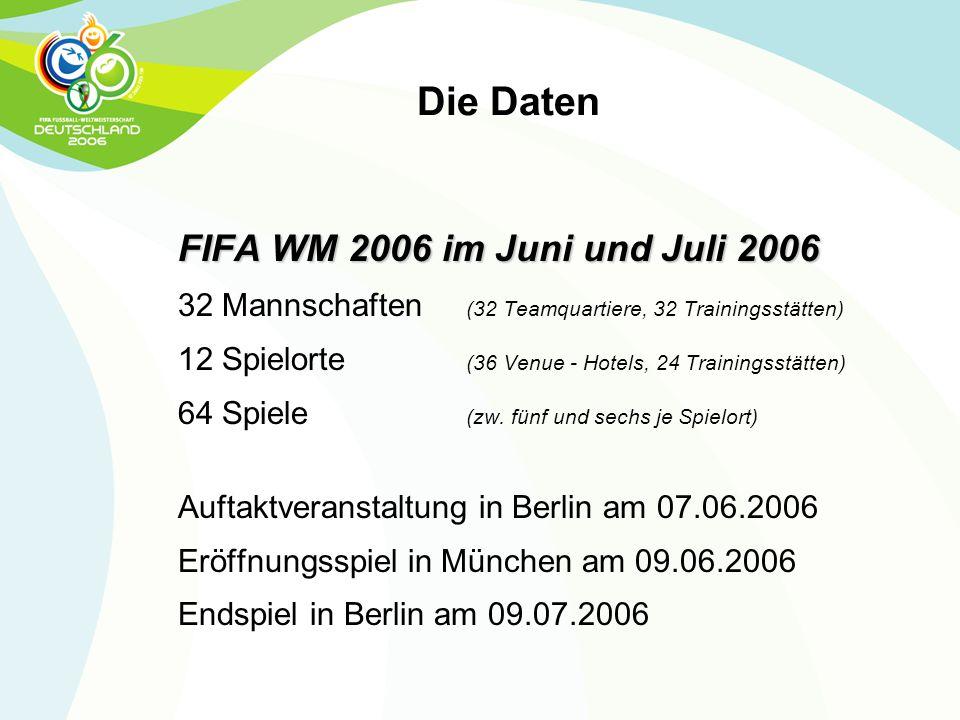 FIFA WM 2006 im Juni und Juli 2006 32 Mannschaften (32 Teamquartiere, 32 Trainingsstätten) 12 Spielorte (36 Venue - Hotels, 24 Trainingsstätten) 64 Sp