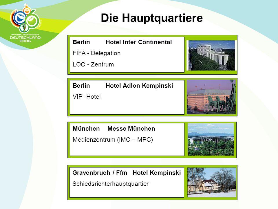 Berlin Hotel Adlon Kempinski VIP- Hotel Berlin Hotel Inter Continental FIFA - Delegation LOC - Zentrum München Messe München Medienzentrum (IMC – MPC)