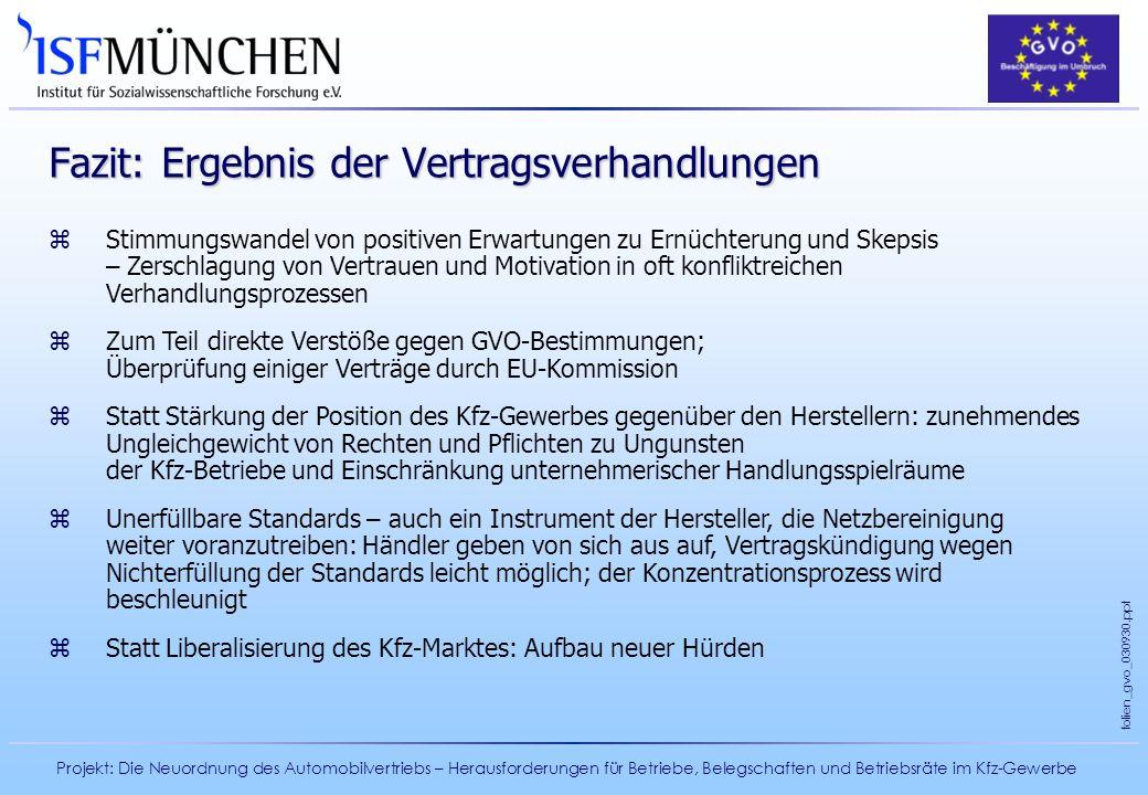 Projekt: Die Neuordnung des Automobilvertriebs – Herausforderungen für Betriebe, Belegschaften und Betriebsräte im Kfz-Gewerbe folien_gvo_030930.ppt F