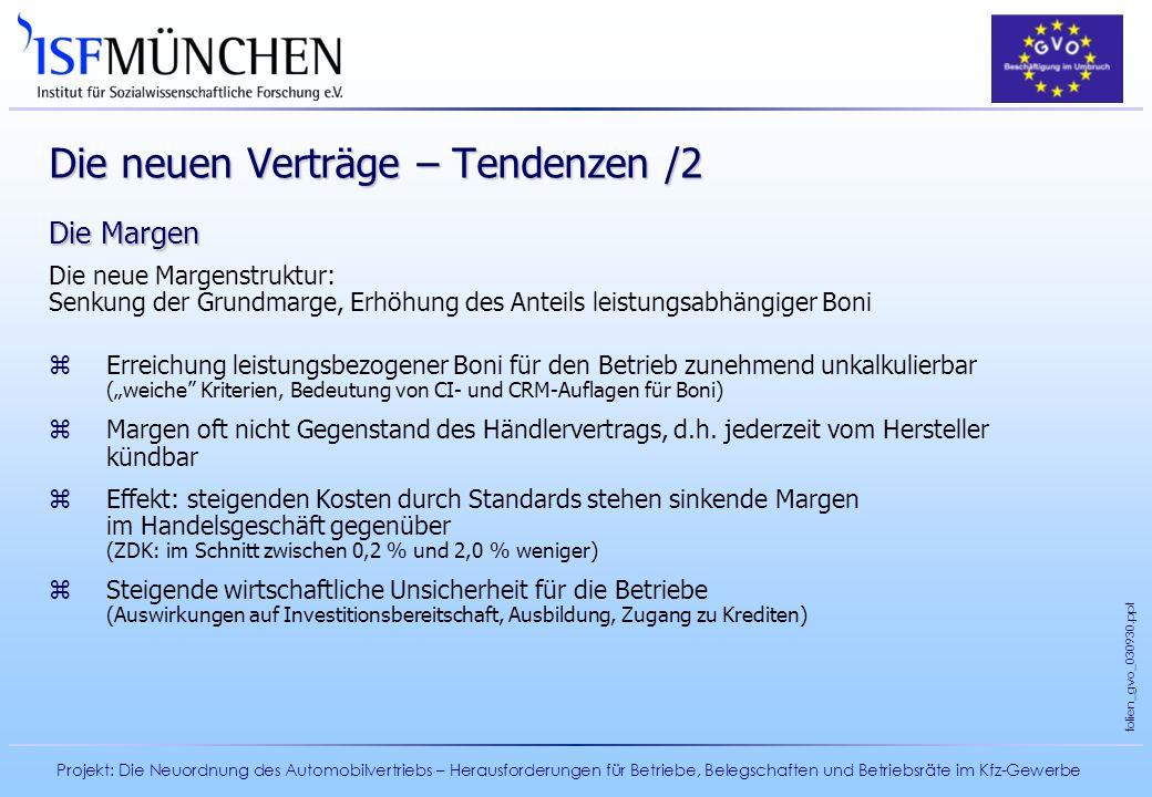 Projekt: Die Neuordnung des Automobilvertriebs – Herausforderungen für Betriebe, Belegschaften und Betriebsräte im Kfz-Gewerbe folien_gvo_030930.ppt D