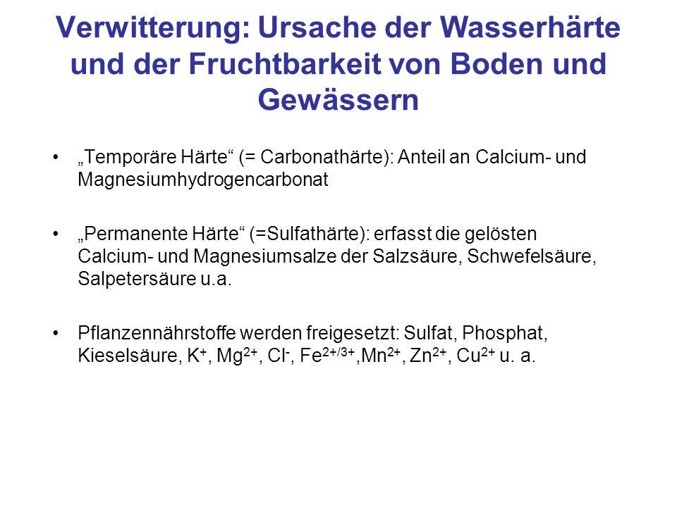 """Verwitterung: Ursache der Wasserhärte und der Fruchtbarkeit von Boden und Gewässern """"Temporäre Härte"""" (= Carbonathärte): Anteil an Calcium- und Magnes"""