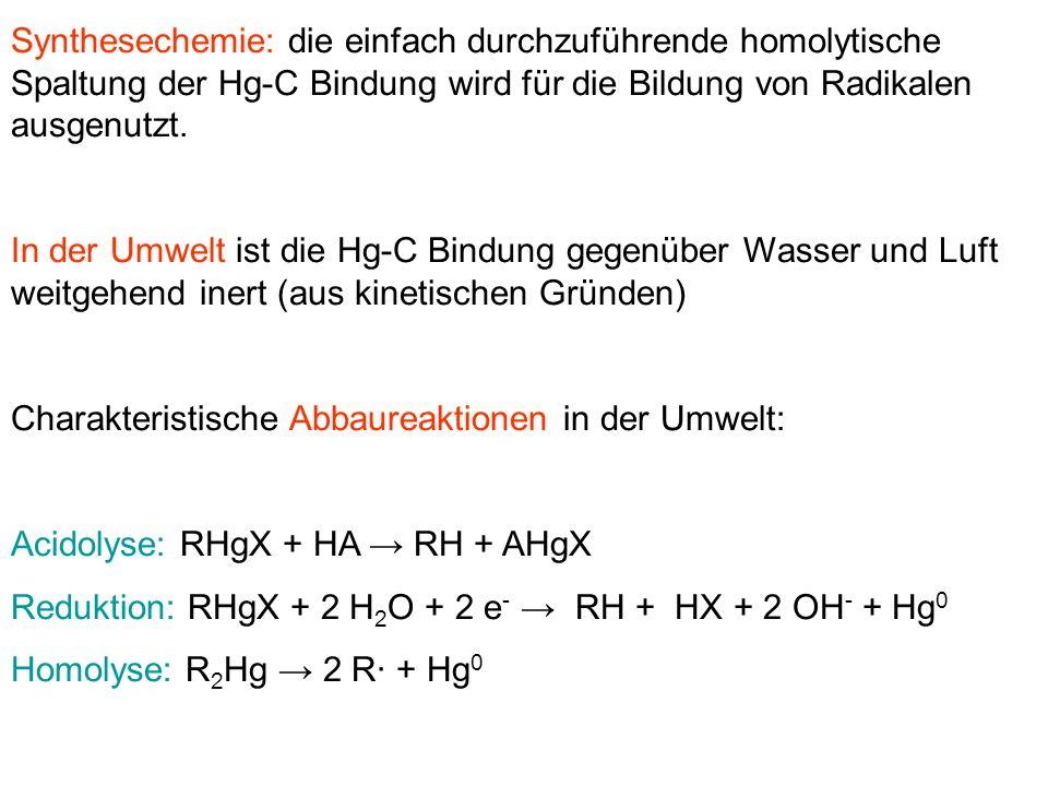 Synthesechemie: die einfach durchzuführende homolytische Spaltung der Hg-C Bindung wird für die Bildung von Radikalen ausgenutzt. In der Umwelt ist di