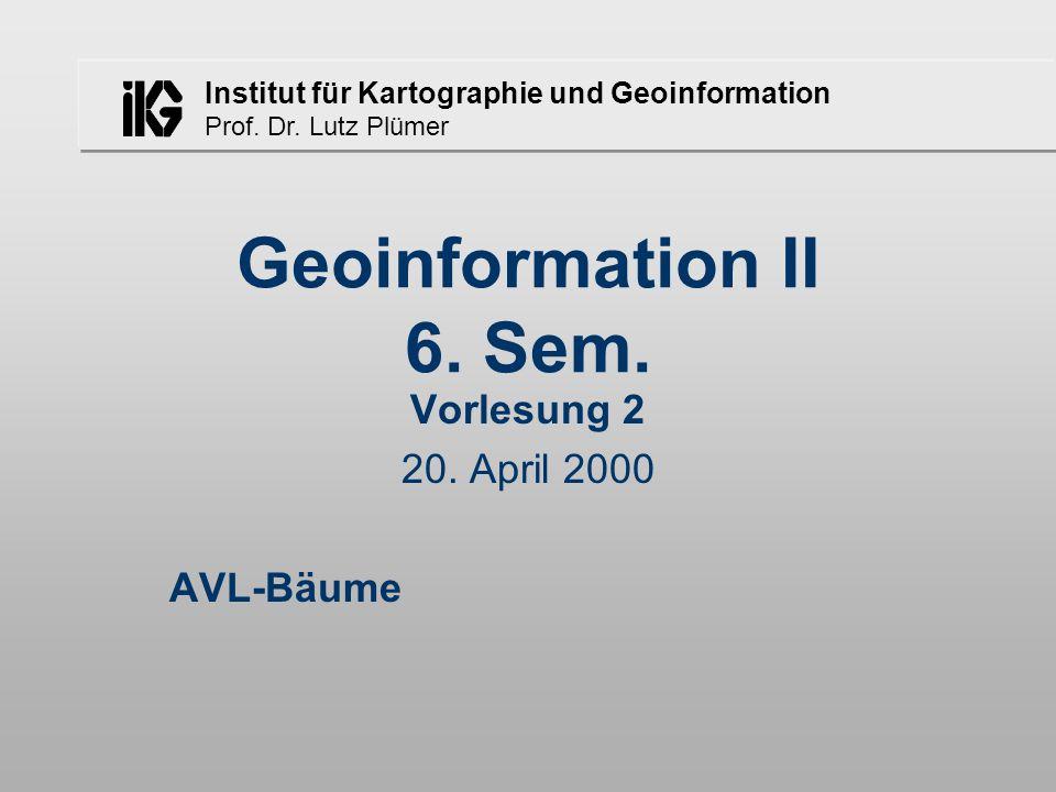 Institut für Kartographie und Geoinformation Prof. Dr. Lutz Plümer Geoinformation II 6. Sem. Vorlesung 2 20. April 2000 AVL-Bäume