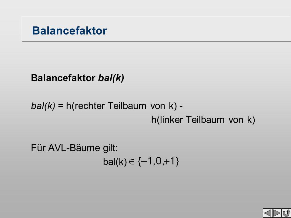 Balancefaktor Balancefaktor bal(k) bal(k) = h(rechter Teilbaum von k) - h(linker Teilbaum von k) Für AVL-Bäume gilt: bal(k)