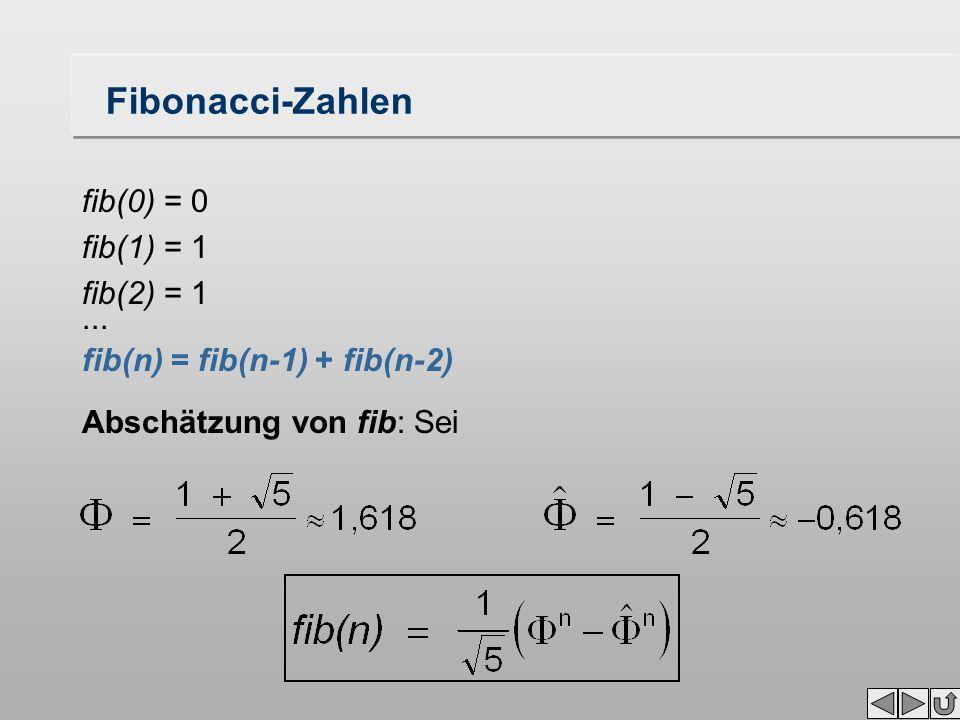 Fibonacci-Zahlen fib(0) = 0 fib(1) = 1 fib(2) = 1... fib(n) = fib(n-1) + fib(n-2) Abschätzung von fib: Sei