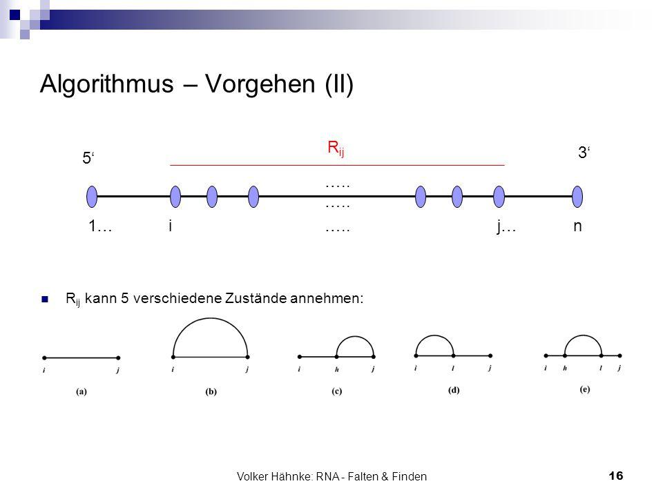 Volker Hähnke: RNA - Falten & Finden16 Algorithmus – Vorgehen (II) R ij kann 5 verschiedene Zustände annehmen: 5' 3' 1… i ….. j… n R ij …..