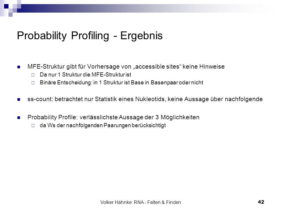 """Volker Hähnke: RNA - Falten & Finden42 Probability Profiling - Ergebnis MFE-Struktur gibt für Vorhersage von """"accessible sites"""" keine Hinweise  Da nu"""