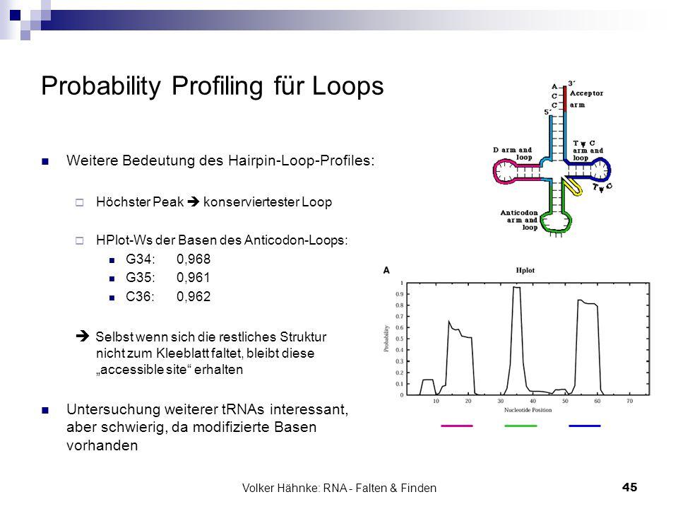 Volker Hähnke: RNA - Falten & Finden45 Probability Profiling für Loops Weitere Bedeutung des Hairpin-Loop-Profiles:  Höchster Peak  konserviertester