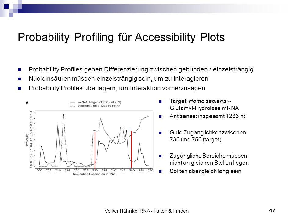 Volker Hähnke: RNA - Falten & Finden47 Probability Profiling für Accessibility Plots Probability Profiles geben Differenzierung zwischen gebunden / ei