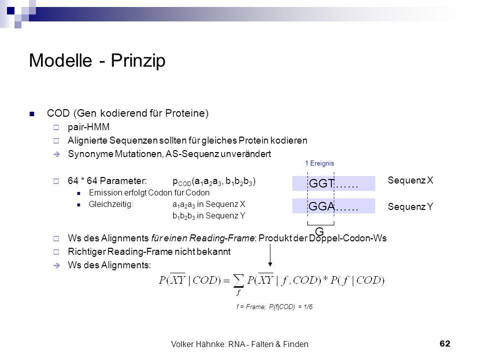Volker Hähnke: RNA - Falten & Finden62 Modelle - Prinzip COD (Gen kodierend für Proteine)  pair-HMM  Alignierte Sequenzen sollten für gleiches Prote