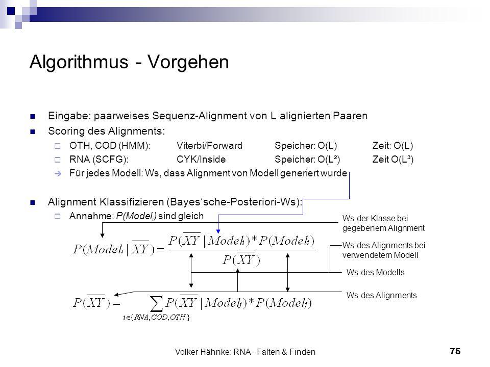 Volker Hähnke: RNA - Falten & Finden75 Algorithmus - Vorgehen Eingabe: paarweises Sequenz-Alignment von L alignierten Paaren Scoring des Alignments: 