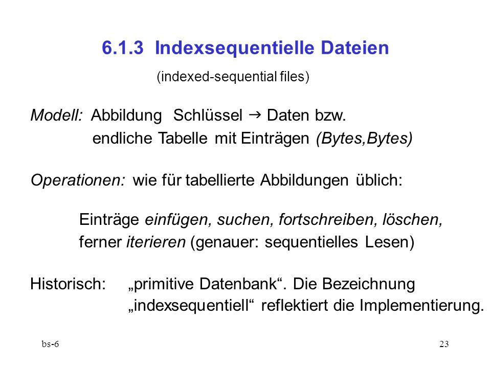 bs-623 6.1.3 Indexsequentielle Dateien (indexed-sequential files) Modell: Abbildung Schlüssel  Daten bzw. endliche Tabelle mit Einträgen (Bytes,Bytes
