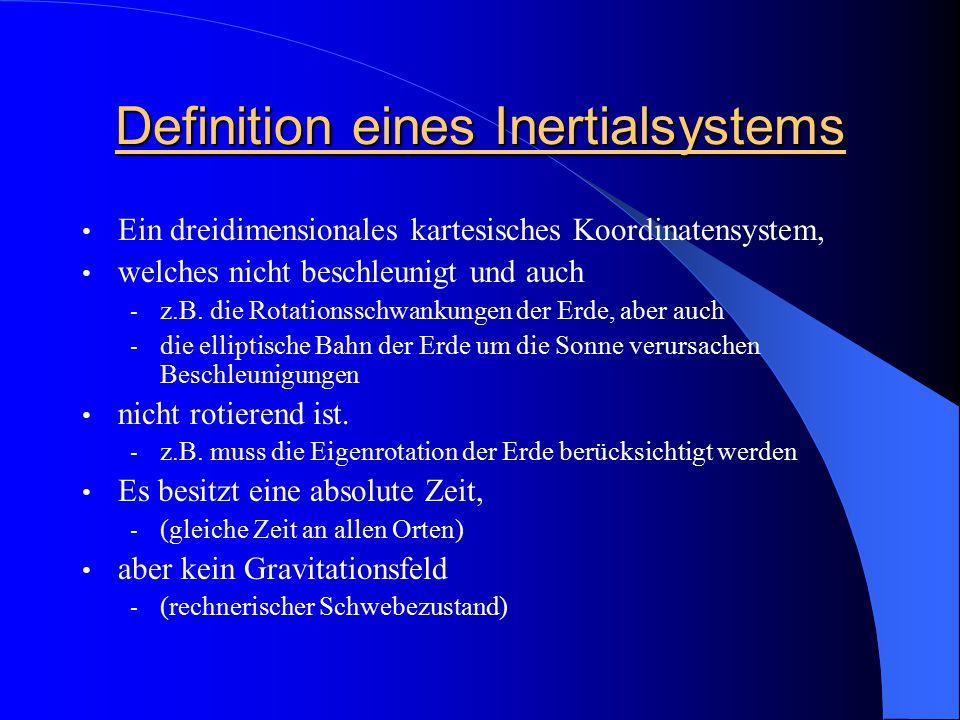 Definition eines Inertialsystems Ein dreidimensionales kartesisches Koordinatensystem, welches nicht beschleunigt und auch - z.B. die Rotationsschwank