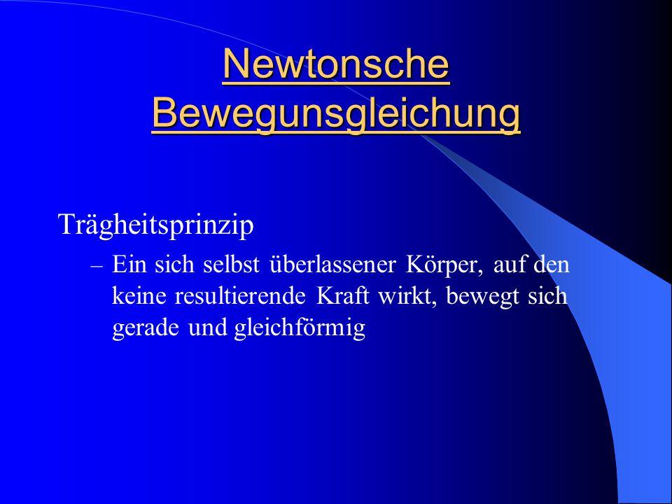 Newtonsche Bewegunsgleichung Trägheitsprinzip – Ein sich selbst überlassener Körper, auf den keine resultierende Kraft wirkt, bewegt sich gerade und g
