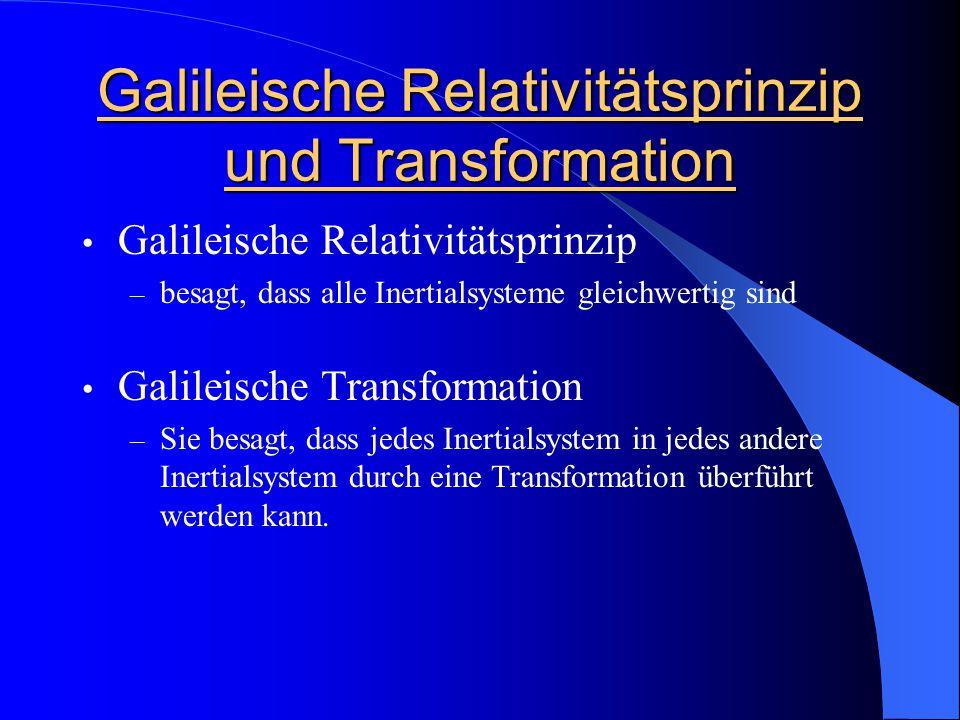 Galileische Relativitätsprinzip und Transformation Galileische Relativitätsprinzip – besagt, dass alle Inertialsysteme gleichwertig sind Galileische T